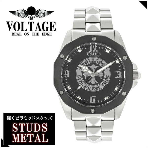 VOLTAGE スタッズメタル STUDS METAL ゴシッククロス メタルバンド リストウォッチ メンズ 腕時計 アクセサリー クロス 十字架 パンク ロック ファッション ヴォルテージ ボルテージ メンズ腕時計 メンズ時計 ブランド プレゼント 人気 おしゃれ