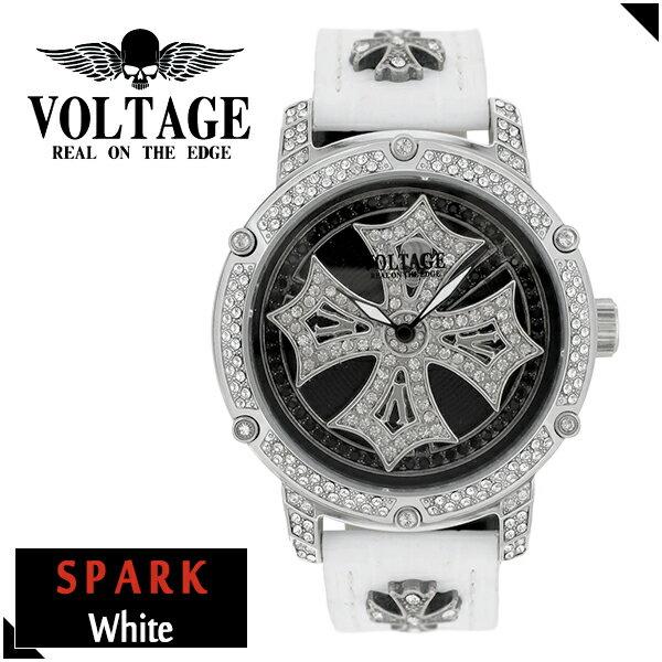 VOLTAGE スパーク ホワイト ダブルレイヤースピン ウォッチ メンズ 腕時計 アクセサリー ゴシック ロック アイアンクロスコンチョ スワロフスキー 牛革 ファッション ヴォルテージ ボルテージ メンズナックル SPARK ブランド プレゼント 人気