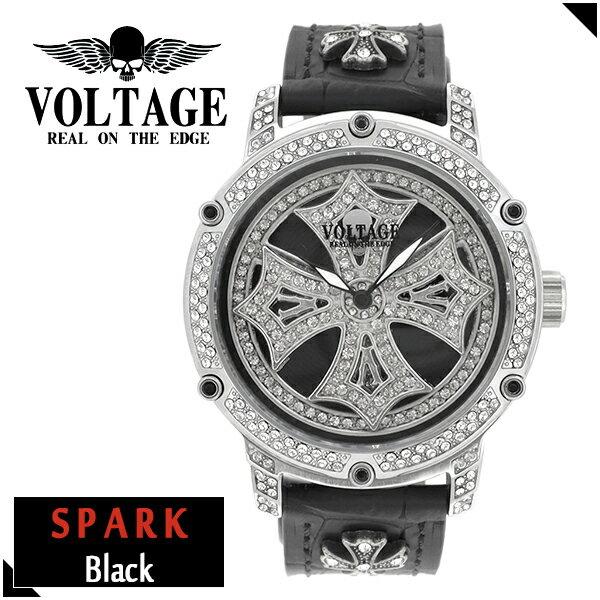VOLTAGE スパーク ブラック ダブルレイヤースピン ウォッチ メンズ 腕時計 アクセサリー ゴシック ロック アイアンクロスコンチョ スワロフスキー 牛革 ファッション ヴォルテージ ボルテージ メンズナックル SPARK ブランド プレゼント 人気