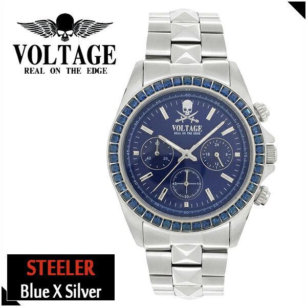 VOLTAGE スティーラー ブルー シルバー ステンレスベルト ウォッチ メンズ 腕時計 アクセサリー ロック パンク メタル クロノグラフ ピラミッドスワロフスキー ファッション ヴォルテージ ボルテージ メンズナックル STEELER