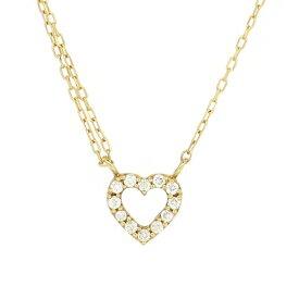 パヴェ ゴールドネックレス(チェーン付きペンダント) オープンハート 透かし 18金 イエローゴールド ダイヤモンド ダイアモンド ジュエリー ネックレス ペンダント 首飾り レディース 女性 アクセサリー ギフト プレゼント おしゃれ
