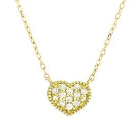 パヴェ ゴールドネックレス(チェーン付きペンダント) ハート ミル打ち 18金 イエローゴールド ダイヤモンド ダイアモンド ジュエリー ネックレス ペンダント 首飾り レディース 女性 アクセサリー ギフト プレゼント おしゃれ