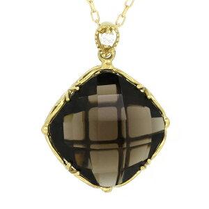 四角形 ゴールドネックレス(チェーン付きペンダント) 立方体 幾何学模様 ジオメトリー 煙水晶 18金 イエローゴールド ダイヤモンド ダイアモンド スモーキークォーツ ジュエリー ネックレス
