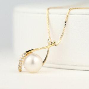 K18 大粒 あこや真珠 ドロップ ネックレス 18金 18k ゴールド ダイアモンド あこや 真珠 パール 天然 大きい 大きめ 華やか 高級感 パーティー アクセサリー ペンダント 誕生日 レディース 女性