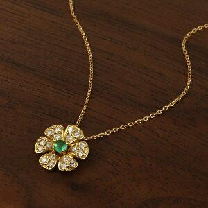 K18 エメラルド ダイヤモンド フラワー ゴールドネックレス 18金 18k ゴールド ネックレス パヴェ 上品 エレガント 大人 華やか ボリューム 大きめ アクセサリー ペンダント 誕生日 レディース