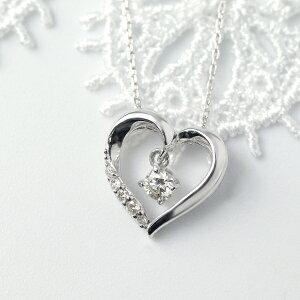 オープンハート ダイヤモンド ネックレス 揺れる ダイヤチャーム K10 ホワイトゴールド ハート ゴールド シンプル 上品 華やか 10金 10k 大粒 大きめ アクセサリー ペンダント 誕生日 レディー
