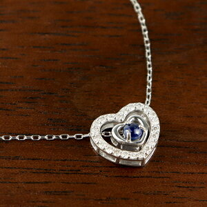 K18 サファイア ダブル ハート ネックレス ダイヤモンド 18金 18k ホワイトゴールド オープンハート フレーム ブルー 天然 誕生石 9月 華やか 上品 可愛い かわいい 高級感 アクセサリー ペンダ