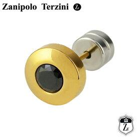 ゴールドカラー ブラックジルコニア サージカルステンレス スタッドピアス 1P 片耳用 Zanipolo Terzini メンズ ピアス ステンレス スタッズ 金属アレルギー メンズピアス プレゼント 男性 彼氏 人気 おしゃれ かっこいい
