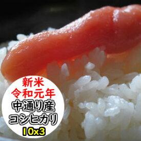 【新米】【新米特売セール開催!】【特売価格にてご提供!】【玄米】【送料無料】令和元年産 福島中通り産 コシヒカリ[1等米]30kg選べる精米方法