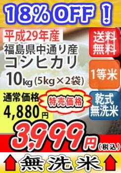 【楽天スーパーセール開催!】【特別価格!】【送料無料】平成29年産 乾式無洗米 福島中通り産コシヒカリ[1等米] 10kg (5Kgx2)
