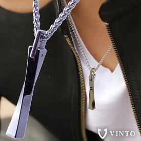 VINTO ネックレス メンズ シンプル ステンレス シルバー スティック プレゼント 誕生日 50cm チェーン付き 革紐 レザー 金属アレルギー プレゼント