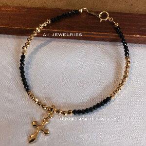 K18 18金 ミラー カット ボール ブラックスピネル クロス チャーム 付き ブレスレット bracelet cross charm 新品 メンズ レディース 兼用 ladies mens mirror cut ball GiNZA HAYATO JEWELRY