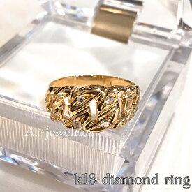 天然 ダイヤモンド リング 18金 天然石 喜平 デザイン k18 Kihei design ring with diamond