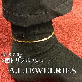 喜平 アンクレット 18金 8面トリプル 26cm メンズサイズ kihei 8cut triple 26cm anklet simple シンプル mens