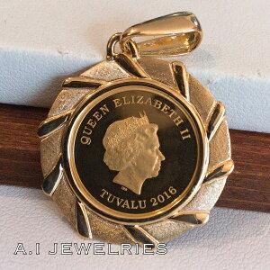 K18 18金 K24 純金コイン エリザベス 1/10 oz ペンダント coin pendant 純金コイン 1/10oz