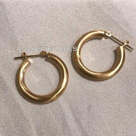 18金 フープ ピアス マット デザイン 3x20mm K18 Matte design hoop pierce