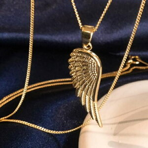 K18 18金 フェザー 羽 ネックレス メンズ 2面 喜平 ネックレス feather necklace mens design 2cut kihei simple fashonable