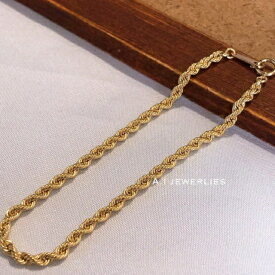 18金 ブレスレット ロープ k18 約3mm幅 18cm 男女兼用 / k18 rope bracelet 18cm
