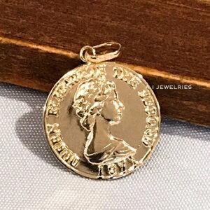ペンダント プレス コイン 18金 プレスコイン 15mm ペンダント トップ ペンダントトップのみ 15mm press coin pendant top only simple
