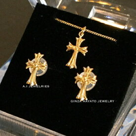 k18 18金 クロス セット ジュエリー ネックレス ピアス K18 cross set jeselry necklace pierce 40cm