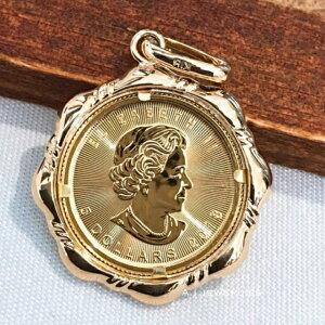 ペンダント 18金 コイン k18/k24 メイプル コイン 男女兼用 24金 純金 k18 / k24 Canada coin pendant top