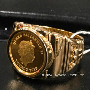 K18 18金 K24 純金コイン 入り 男性 指輪 リング メンズ 高級 新品 本物 資産 coin ring mens simple