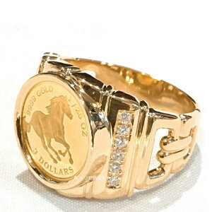 純金 コイン リング 18金 24金 天然石 ダイヤモンド 付き k18 k24 pure gold ring with diamond
