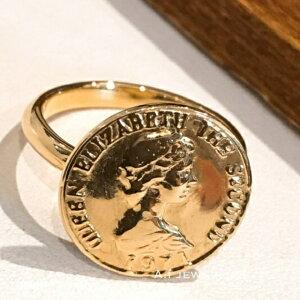 リング プレス コイン 18金 エリザベス プレス コイン 15mm やや厚め リング press coin ring k18