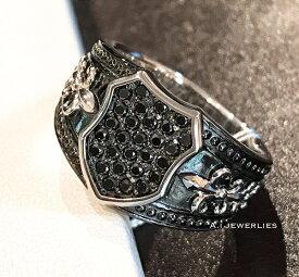 Pt 900 プラチナ メンズ リング 天然石 ブラックダイヤモンド付き  /Pt 900 men's ring with black diamond