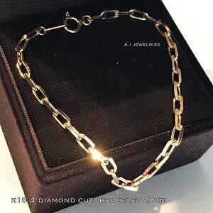 k18 18金 4面 ダイヤモンドカット アズキデザイン ブレスレット 20センチ / k18 azuki design bracelet 20 cm 4 diamond cut