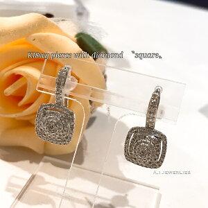 ピアス 18金 ダイヤ k18WG 天然石 ダイヤモンド ピアス スクエア / k18wg diamond pierce square