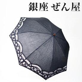 バテンレース折りたたみパラソル 黒 (デザイン1)【日傘】【銀座 ぜん屋 ぜんや ゼンヤ】