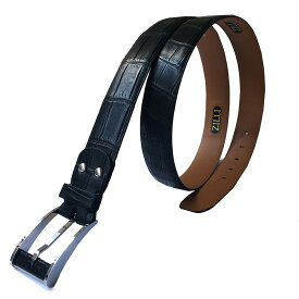 ZILLI (ジリー)ベルト メンズ ブランド ZILLI ジリー クロコダイル 本革 ブラック