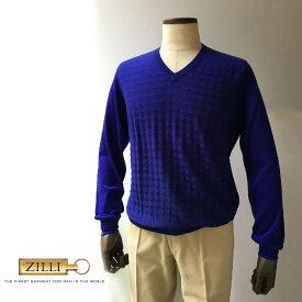 ZILLI (ジリー)ニット セーター メンズ カジュアル ブランド ZILLI ジリー カシミア シルク ブルー メンズ Vネック