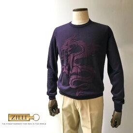 ZILLI (ジリー)ニット セーター メンズ カジュアル ブランド ZILLI ジリー カシミヤ シルク ダークボルドー ハイゲージ 薄手