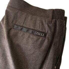 ZILLI (ジリー)ボトムス メンズ リブパンツ ブランド ZILLI ジリー ウールカシミヤ ブラウン スラックス 楽パン イージーパンツ