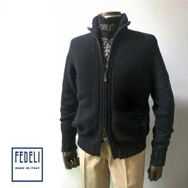 FEDELI (フェデーリ) カシミアニットブルゾン メンズ カジュアル ブラック ニット