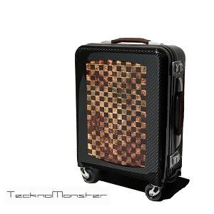 TecknoMonster(テクノモンスター)キャリーケース 機内持ち込み キャリーバッグ トローリー カーボンファイバー ハードタイプ 生木 ブランド メンズ レディース イタリア製 旅行 キャリーバッグ