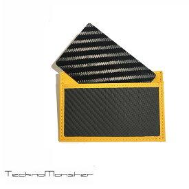 TecknoMonster (テクノモンスター)サブラージュカード カードケース 定期入れ パスケース クレジットカードケース ブランド メンズ レディース ソフトカーボンファイバー カーフレザー チタン ハードカーボンファイバー イタリア製 サブラージュ イエロー