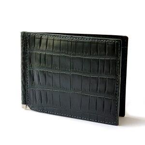 LE'SAC(レザック)レザック マネークリップ 札ばさみ カードケース クロコダイル ワニ革 モスグリーン ブランド