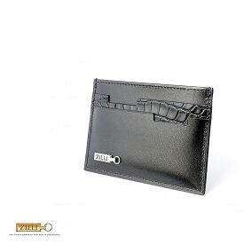ZILLI (ジリー)カードケース メンズ レディース ブランド 高級 ZILLI ジリー カーフレザー アリゲーター 本革 ブラック