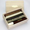 靴磨き ブラシ(馬毛ブラシ+豚毛ブラシ)SANOHATA 紗乃織刷子(さのはたブラシ)桐箱セット