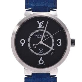LOUIS VUITTON ルイヴィトン タンブール スリム フラグメントデザイン Q1DM1 メンズ SS/革 腕時計 クオーツ 黒文字盤 ABランク 中古 銀蔵