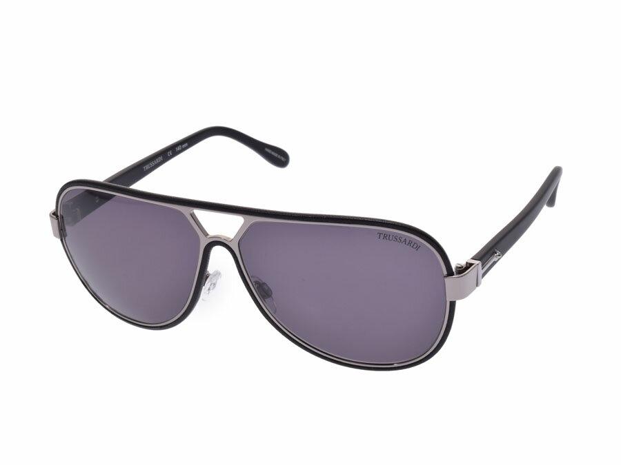 新品トラサルディ サングラス TR12925 BK 黒 レザー ティアドロップ ケース付 メンズ レディース TRUSSARDI◇