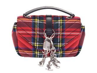 Used Saint-Laurent baby flat chain shoulder bag canvas red tartan check SAINT  LAURENT 7150941e58df1