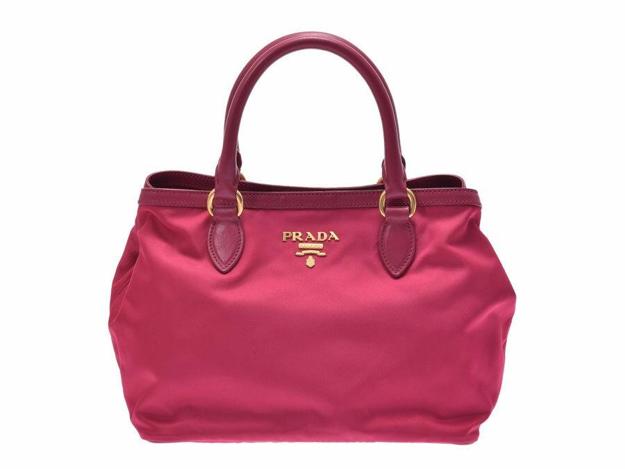 プラダ 2WAYハンドバッグ ピンク系 1BA104 レディース ナイロン レザー 未使用 美品 PRADA ストラップ付 ギャラ 中古 銀蔵