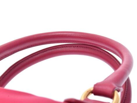 プラダ2WAYハンドバッグピンク系1BA104レディースナイロンレザー未使用美品PRADAストラップ付ギャラ中古銀蔵
