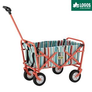 LOGOS ロゴス アウトドア キャリーカート 四輪 折りたたみ ワンタッチ おすすめ 軽量 丸洗いストライプ ミディキャリー ブルー