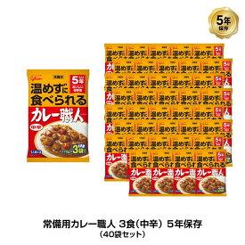 5年保存 非常食 江崎グリコ 常備用カレー職人 カレー 中辛 1袋/170g×3食入 40袋セット
