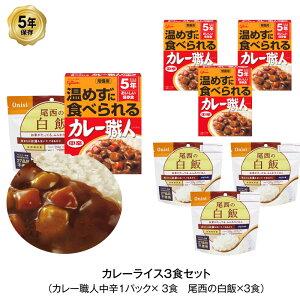 5年保存 非常食 江崎グリコ 常備用カレー職人 中辛 尾西の白飯 3食 セット